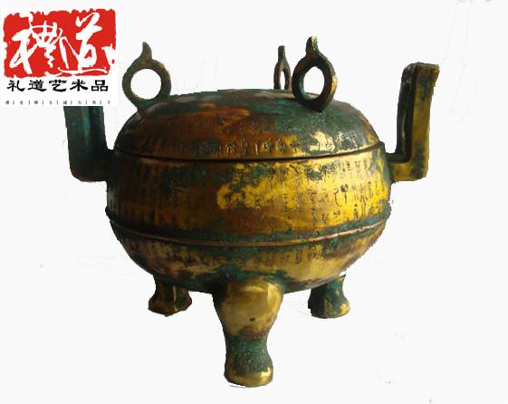 错金圆鼎——郑州礼道艺术品仿古错金青铜器